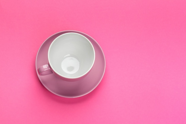 Flat lay view  coffee or tea cup on color Premium Photo