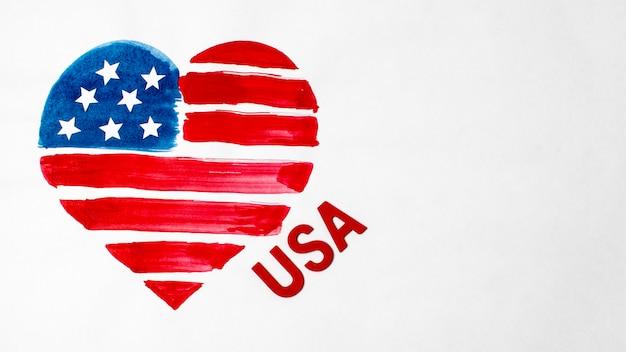 Плоский лежал акварель в форме сердца с флагом сша Бесплатные Фотографии