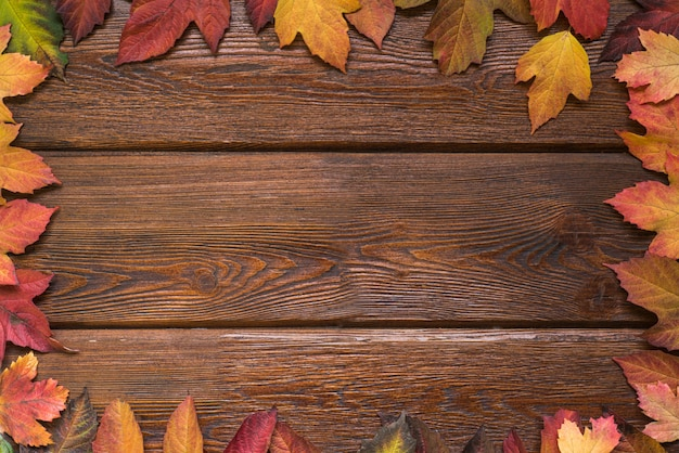 Flat lay with autumn leaves border frame on rustic dark wooden background. Premium Photo