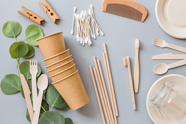 Flat lay with eco natural products Premium Photo