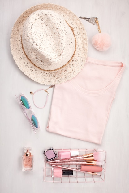 Flat lay with women accessories. Premium Photo