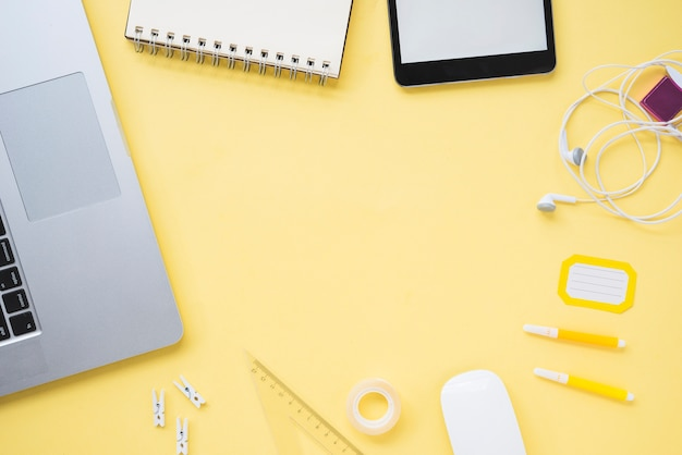 Flat lay of workspace with copy space Free Photo