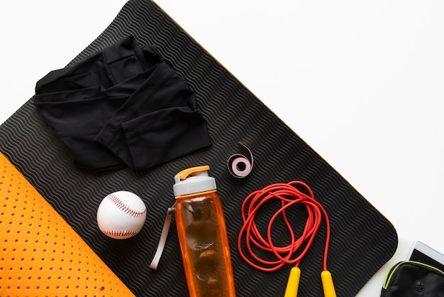 Плоское расположение оборудования для йоги Бесплатные Фотографии
