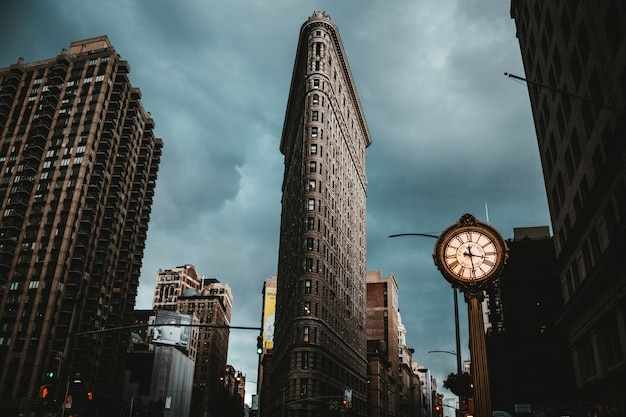 The flatiron building in new york city shot from a low angle Free Photo