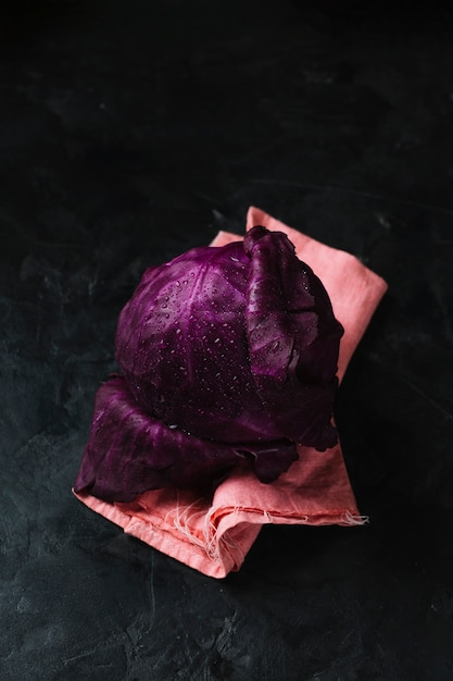 Flavorful red cabbage with dew high view Free Photo