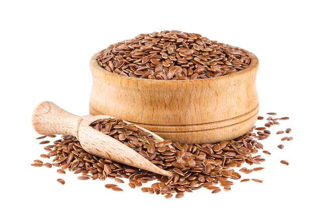 Flax seeds isolated on white background Premium Photo
