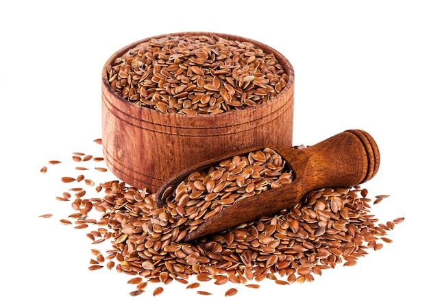 Flax seeds isolated on white Premium Photo