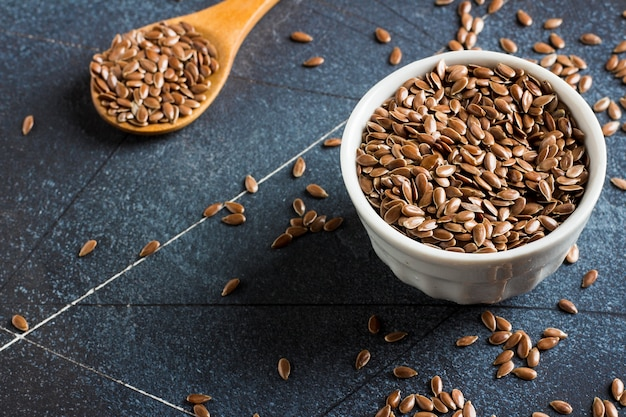 Flax seeds linseed superfood healthy organic food concept Free Photo