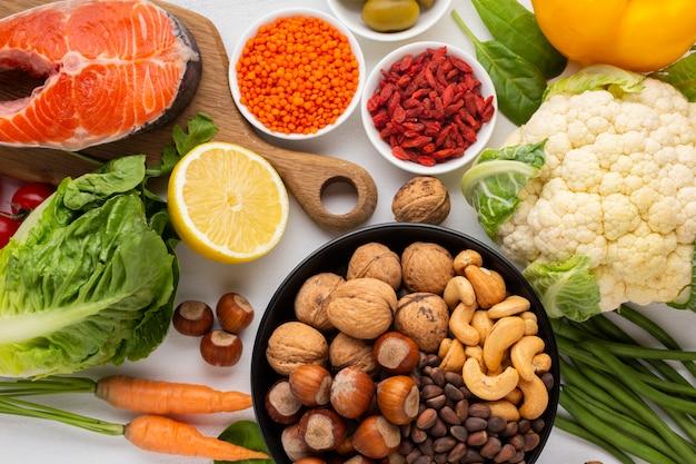 Flay lay of natural and healthy food Free Photo