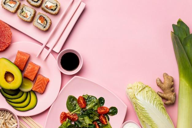魚、野菜、果物を使った準菜食 無料写真