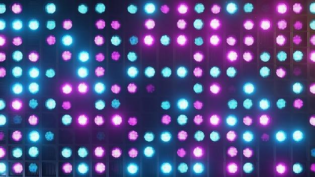 깜박임 벽 조명. 번쩍이는 불빛 클럽과 디스코를위한 손전등. 매트릭스 빔 헤드 라이트. 나이트 클럽 할로겐 램프. 현대 네온 스펙트럼. 3d 그림 프리미엄 사진