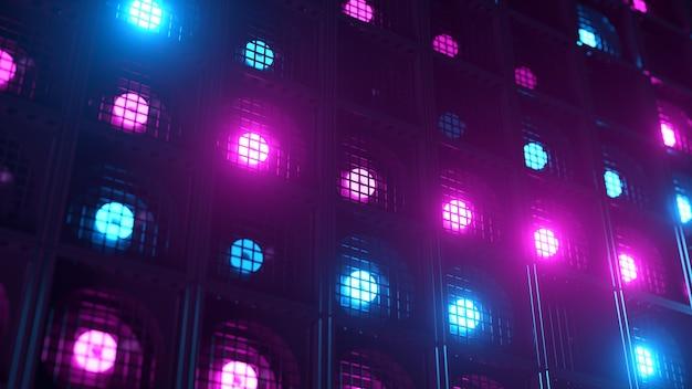 깜박임 벽 조명. 번쩍이는 불빛 클럽과 디스코를위한 손전등. 나이트 클럽 할로겐 램프. 현대 네온 스펙트럼. 프리미엄 사진