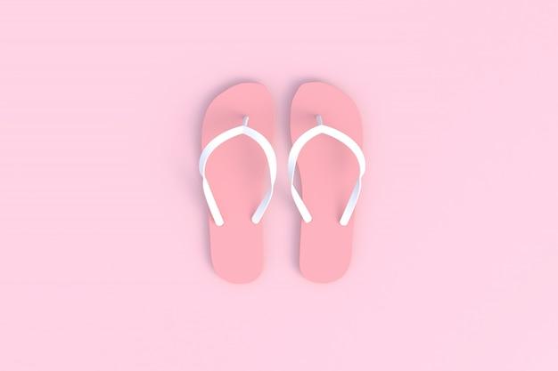 Flip flops on pink wooden floor, 3d rendering Photo