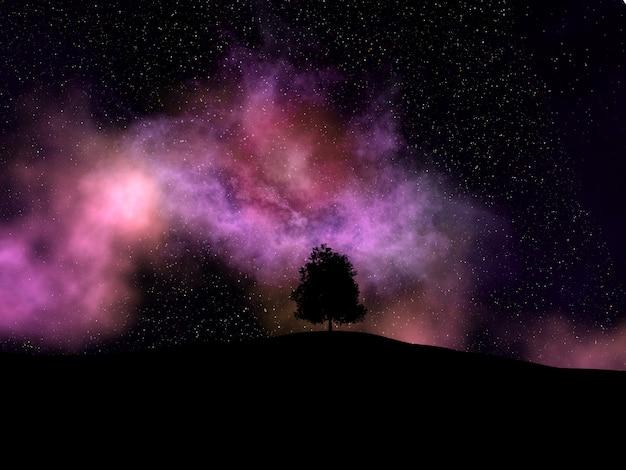 Nebulosa galleggiante con una sagoma di albero Foto Gratuite