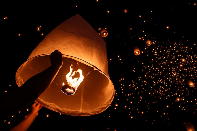 Floating sky lantern in northern thai traditional new year Premium Photo