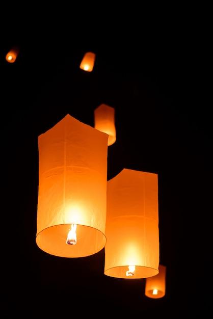 Floating sky lantern in  thai traditional new year , yi peng festival Premium Photo