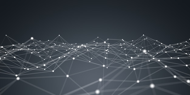 Floating white and blue dot network 3d rendering Premium Photo