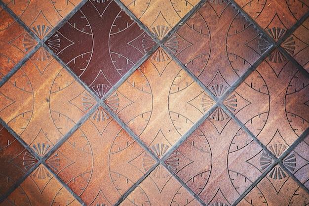 床の粘土のタイルの背景 Premium写真