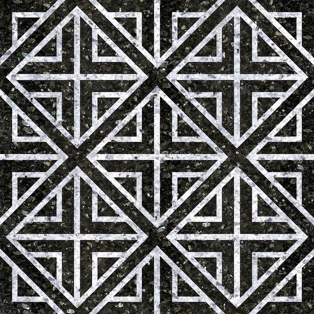 Напольная плитка. натуральная черно-белая мраморная плитка. геометрический узор Premium Фотографии