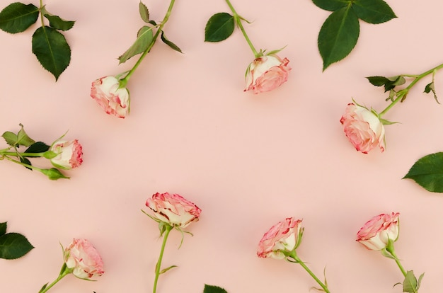 Floral arrangement in flat lay Free Photo
