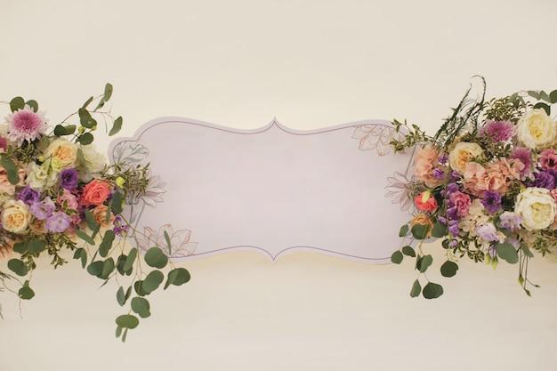 Floral arrangement. place for text Premium Photo