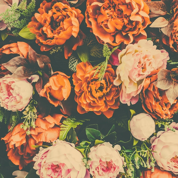 Floral Background With Orange And Pink Flowers Photo Free Download