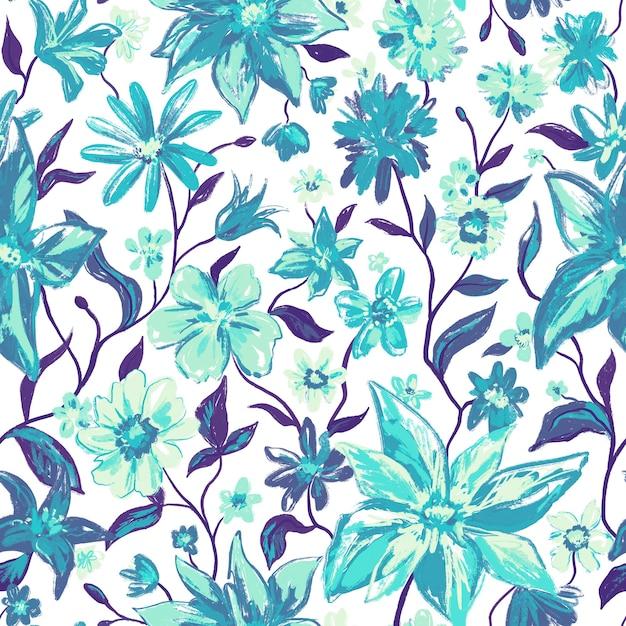 青緑色と水彩風のカラフルな花と葉を持つ花の植物のシームレスなパターン Premium写真