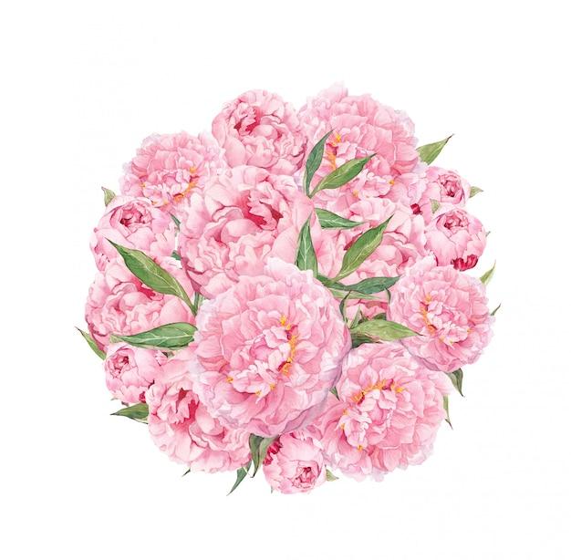 ピンクの牡丹の花と花のサークル。ヴィンテージ水彩 Premium写真