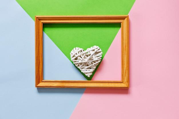 Floral flat lay minimalism geometric patterns greeting card. Premium Photo