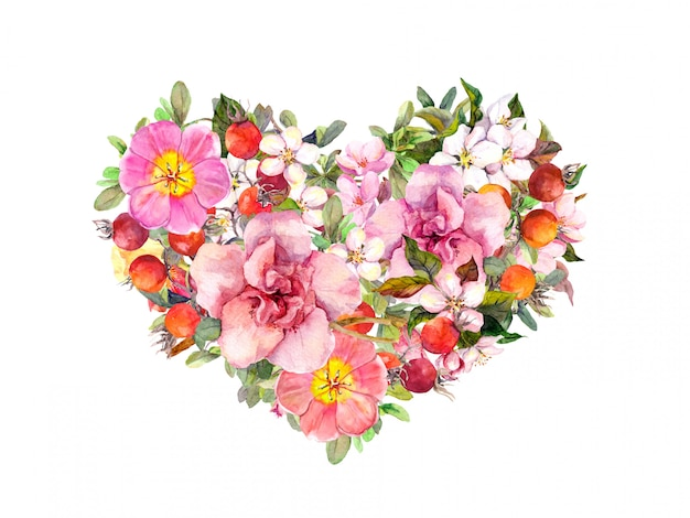 Floral heart with pink flowers, summer grass and leaves. watercolor for valentine day Premium Photo