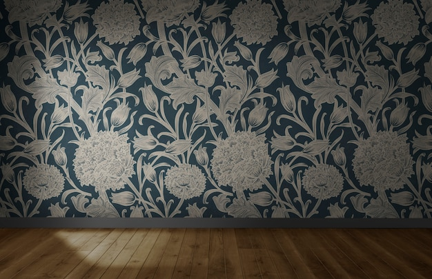 Floral wallpaper in an empty room with wooden floor Free Photo