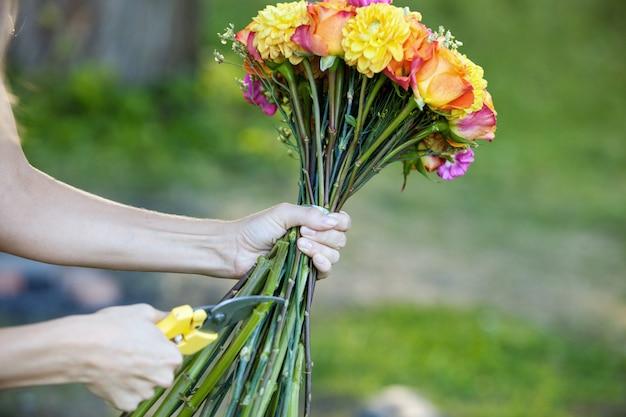 Флорист стричь цветы стебли, крупным планом женская рука с ножницами Premium Фотографии