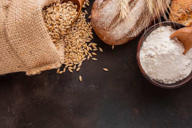 Flour blow with wheat seeds Free Photo