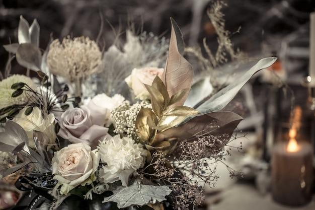 カボチャの生花のフラワーアレンジメント 無料写真