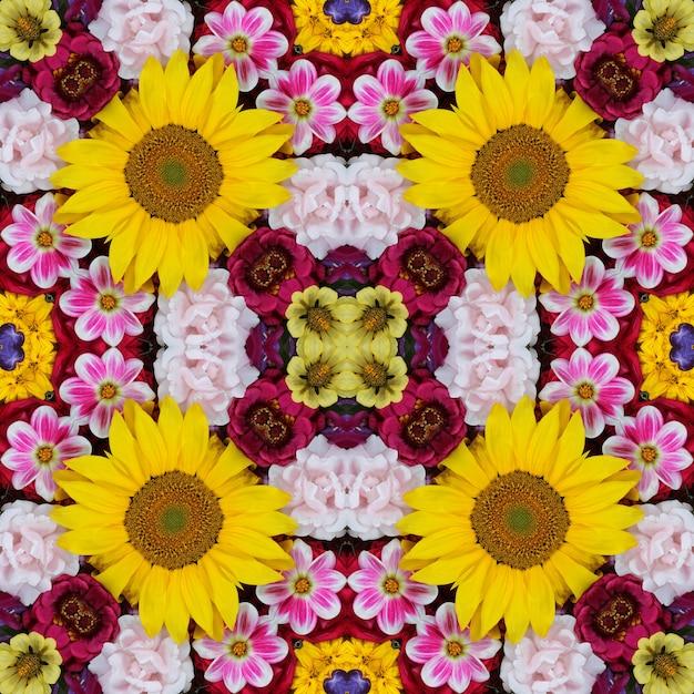 Flower background. effect of a kaleidoscope. seamless pattern Premium Photo