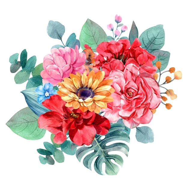 Flower bouquet isolated watercolor painting for illustration Premium Photo