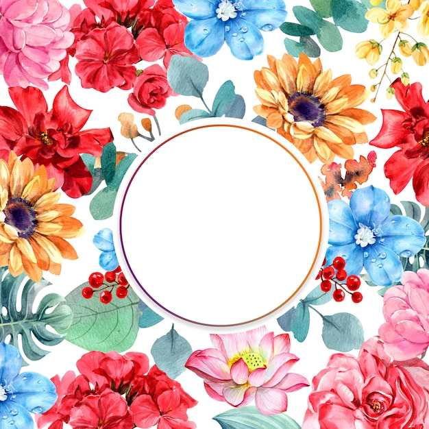 Flower composition with circle frame Premium Photo