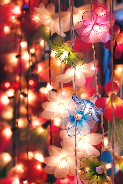 Flower garland lightning, colored illumination Premium Photo