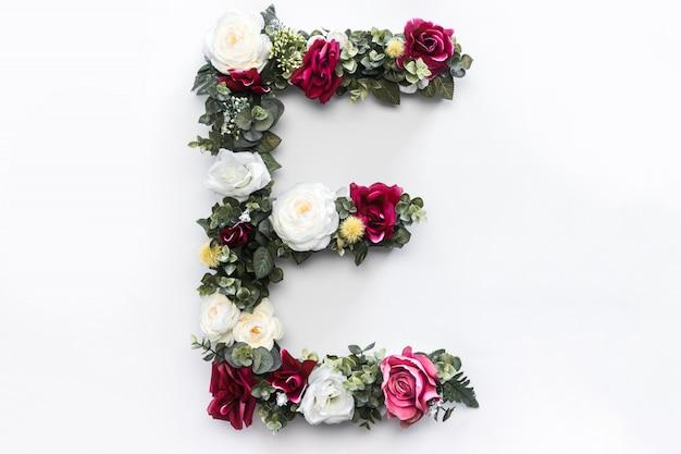 Flower letter e floral monogram free photo Free Photo