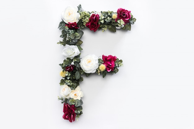 Flower letter f floral monogram free photo Free Photo