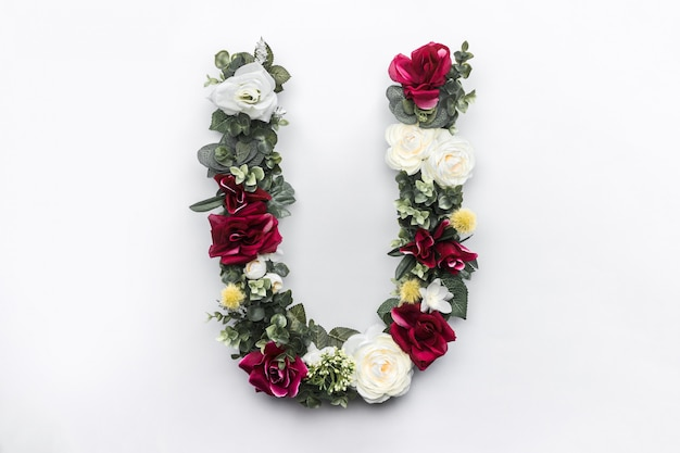 Flower letter u floral monogram Free Photo