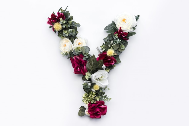 Flower letter y floral monogram Free Photo