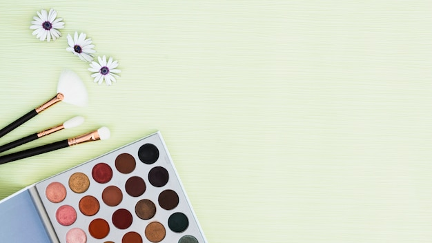 Flower; makeup brushes and eyeshadow palette on mint textured backdrop Free Photo
