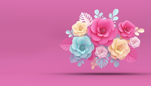 Flower paper style, 3d rendering Premium Photo