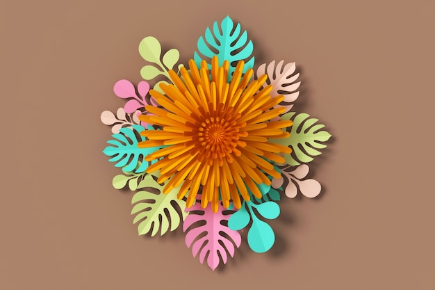 Flower paper style paper craft floral 3d rendering with clipping flower paper style paper craft floral 3d rendering with clipping path premium mightylinksfo