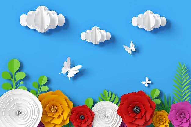 Flower and sky paper style, 3d rendering Premium Photo