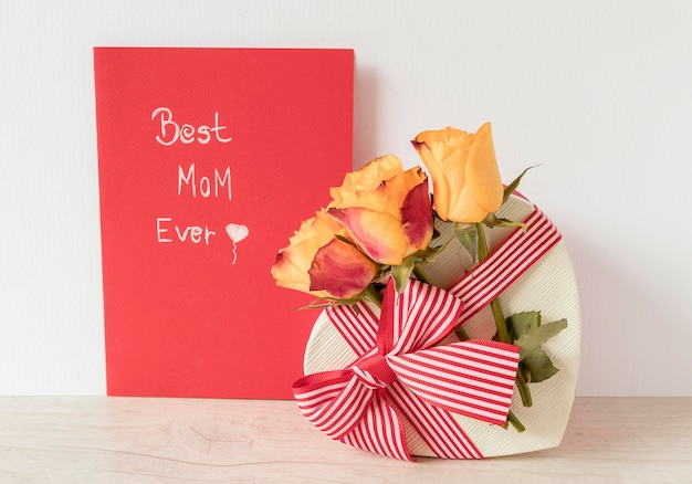 Flowers, gift and card for mother's day Free Photo