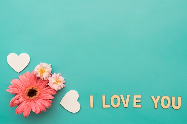 Flowers Hearts And I Love You Lettering Photo Free Download