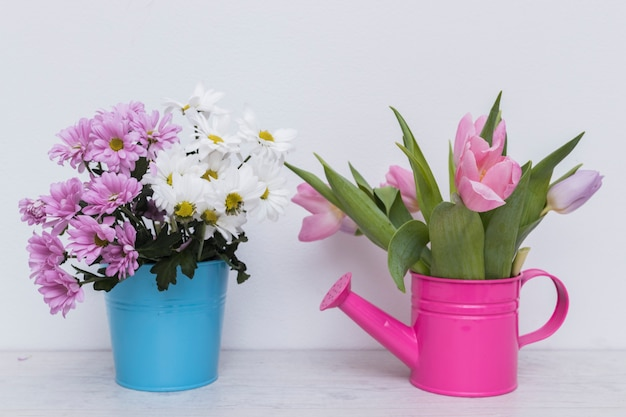 Flowers in basket and pot Free Photo