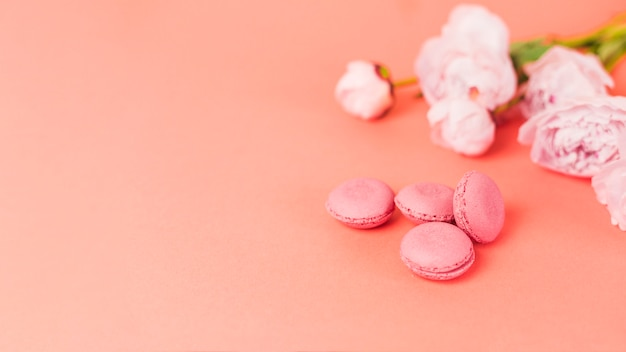 Flowers and macarons Free Photo